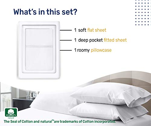 100% Cotton Sheet Set, Pure White Bedding Sets Twin Size 3 Piece Set 400 Thread Count Long-staple Combed Pure Natural Cotton Bedsheets, Soft & Silky Sateen Weave Fits Mattress Upto 17'' Deep Pocket