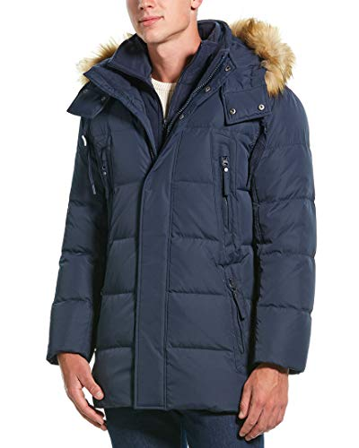 Marc New York by Andrew Marc Men's Conway Hooded Matte Shell Parka Jacket with Removable Faux Fur, Ink, Large