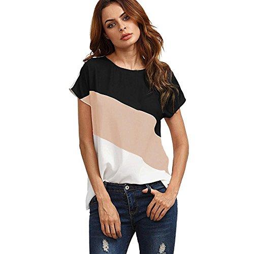 MRULIC Damen Kurzarm T-Shirt Rundhals Ausschnitt Lose Hemd Pullover Sweatshirt Oberteil Tops (EU-42/CN-XL, Rosa)
