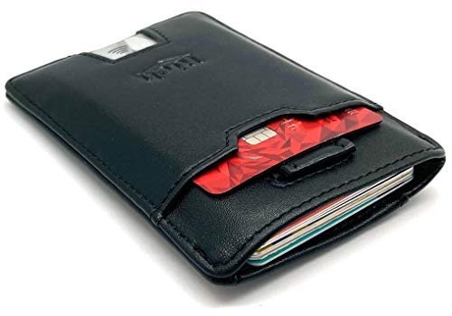 RICH Minimalist Ultra Thin Leather Card Holder RFID Blocking Wallet with Pull tab Black