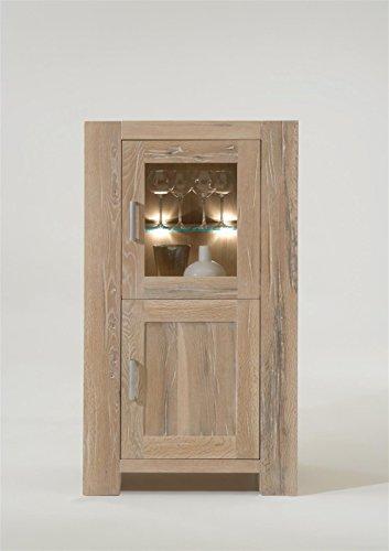 Sit Möbel Fausto Vitrine Wildeiken massief met scheurtjes L = 74 x B = 47 x H = 132 cm White wash
