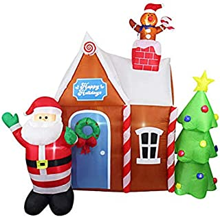Inflatable Light-Up Gingerbread House & Santa 6FT