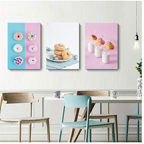 HANJIANGFBH Pink Blue Heidelbeer Creme Donut Milch Wandkunst Leinwand Malerei köstliche Dessert Home Decoration Bilder für Wohnzimmer 50X70CM X3No Rahmen