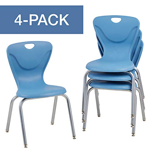 FDP 18' Contour School Stacking Student Chair, Ergonomic Molded Seat Shell with Powder Coated Silver Frame and Swivel Leg Glides; for in-Home Learning, Classroom or Office - Powder Blue (4-Pack)