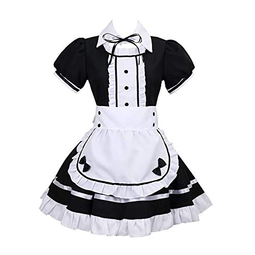 BellaPunk Damen French Maid Costume Dress kostüm Sexy Lolita Kleid Cosplay Uniform Schwarz 4 pcs (S, Schwarz)