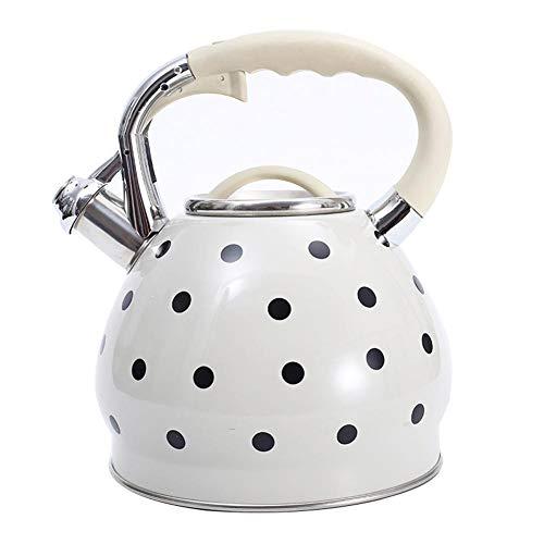 Hervidor de agua con silbato, 3,5 litros, acero inoxidable, hervidor de agua para cocina de inducción, color blanco con lunares