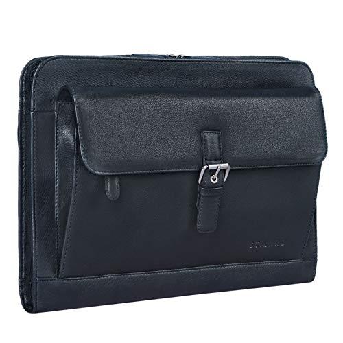 STILORD 'Emilius' Carpeta ejecutiva o de conferencias de Piel para tamaño DIN A4 Portadocumentos o portafolios para portátil MacBook o Tablet de 13,3', Color:Negro