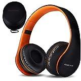 PowerLocus P1 - Auriculares Bluetooth inalambricos de Diadema Cascos Plegables, Casco Bluetooth con Sonido Estéreo con Conexión a Bluetooth Inalámbrico y Cable para Movil, PC, Tablet - Naranja