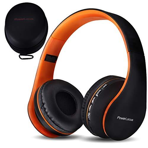 PowerLocus P1, Cuffie Bluetooth Senza Fili Over-Ear Cuffie, Stereo Pieghevoli Auricolari, Wireless Cuffie Riduzione del Rumore con Microfono per iPhone, Samsung, LG, iPad, PC, iPod (Arancia)