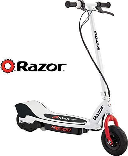 Razor E200 Electric Scooter, Escúter Eléctrico, Patín Eléctrico, Adolescentes, Jóvenes, 13+ - Blanco con Rojo