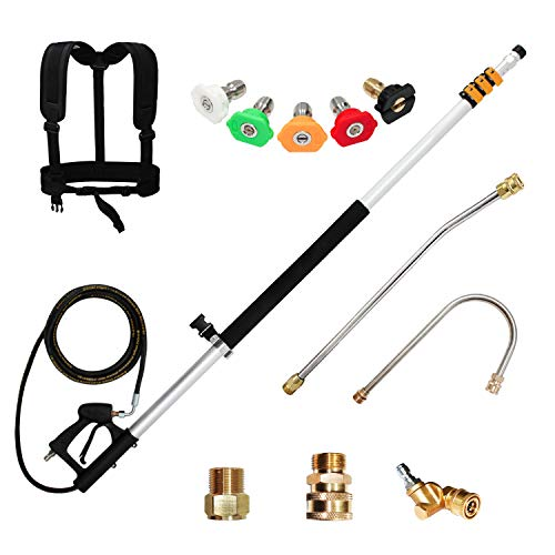 EDOU 19 FT Telescoping Lance High Pressure Washer Extension Wand with 1/4'' Quick Connection Wand,Including 5 Spray Nozzle Tips,Gutter Cleaner,Pivoting Coupler,2 Adapters and Support Belt,4000 PSI