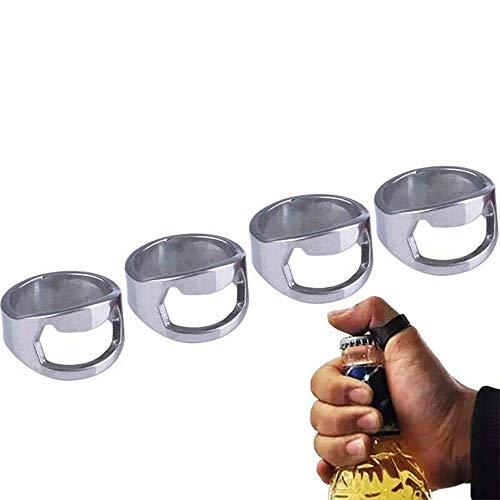 GadgetcKing 4 Paquete de Acero Inoxidable Dedo Pulgar Anillo Cerveza Botella abridor Cromo Llavero Barra Herramienta de Acero Inoxidable