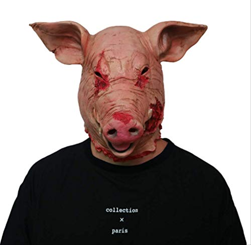 Latex Maske Horror Schwein Overhead Tier Schwein Maske Halloween Kostüm Scary Saw Schwein Maske Full Head Horror Evil Animal Prop