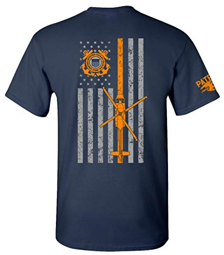 Patriot Apparel US Coast Guard USCG U.S. Armed Forces T-Shirt Tee (Large, Navy)