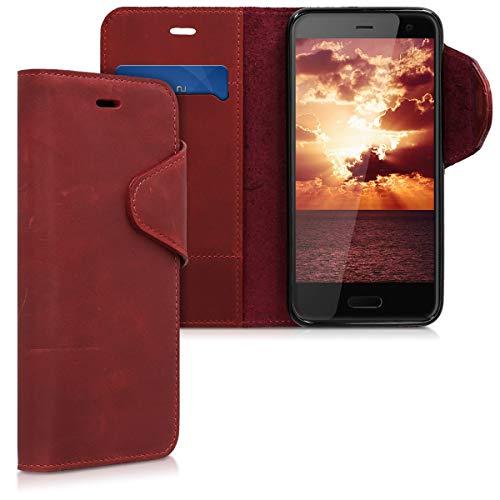 kalibri Hülle kompatibel mit HTC U11 Life - Leder Handyhülle - Handy Wallet Hülle Cover in Dunkelrot