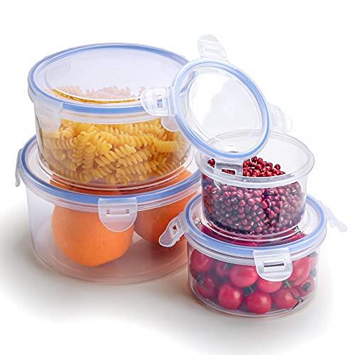 无品牌 Frischhaltedosen Set, Kunststoff Frischhaltedose mit Deckel, Plastik Gefrierdosen mit Verschluss, Auslaufsichere Dosen als Vorratsdosen Snackbox Brotdose oder Lunchbox-BAP-frei (4 Größen)