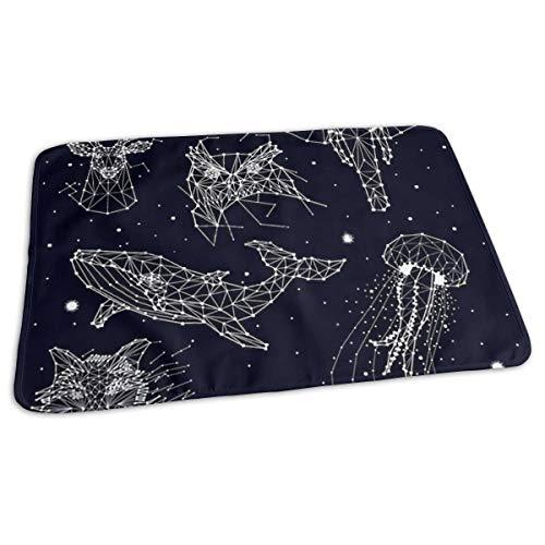 Tragbare Wickelunterlage, wasserfest und wiederverwendbar, 70 x 50 cm, für Wickelwindel – Unisex-Design für Mädchen und Jungen – Magisches Sternbild Elefant Eule Hirsch Wal