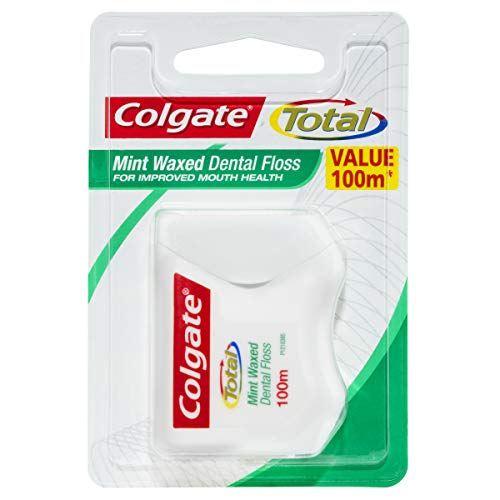 Colgate Total Mint Waxed Dental Floss, Value 100m, Protects Gums + Reduces Tooth Decay