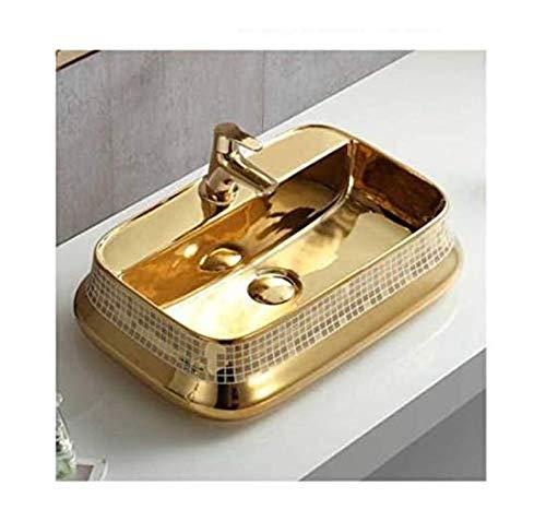 Design Keramik Waschtisch Aufsatz Waschbecken Waschplatz für Badezimmer Gäste WC, Aufsatzbecken Waschschale, Aufsatzwaschtisch handwaschbecken goldfarben 52 x 30 x 14 Cm (BxTxH) rechteckige