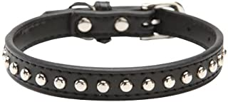BINGPET Real Split Leather Studded Pet Dog Collar