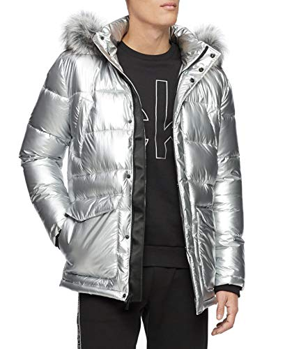 Calvin Klein Men Jacket Large Puffer Parka Hood Faux Fur Silver L