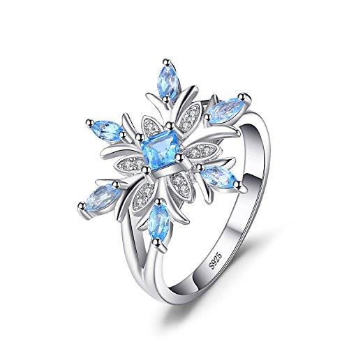 JewelryPalace Copo de nieve de las mujeres genuino azul suizo Topaz anillo...