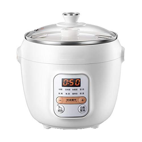 Elektrische Dünsten Topf Automatische Keramik, Haushalt Slow Cooker Porridge-Hersteller 1L Multi Cooker All-In-One-Elektroherd Für 1-2 Personen,Weiß