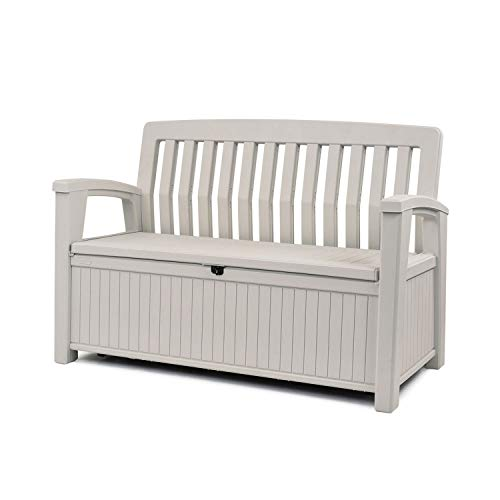 Keter 60 Gallon Storage Bench and Tool Box Organizer for Outdoor Garden Decor, Deck and Patio Furniture, Ivory