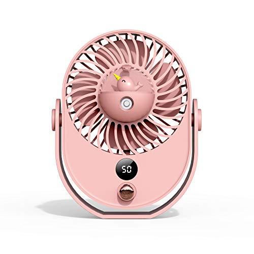 Slefpt Desktop-Spray Kühlung Luftbefeuchtung Kleiner Ventilator tragbares Mute Büro Wiederaufladbare Studentenwohnheim Handmini-USB-Kleiner Ventilator 360 ° Drehwinkel (Color : Rosa)