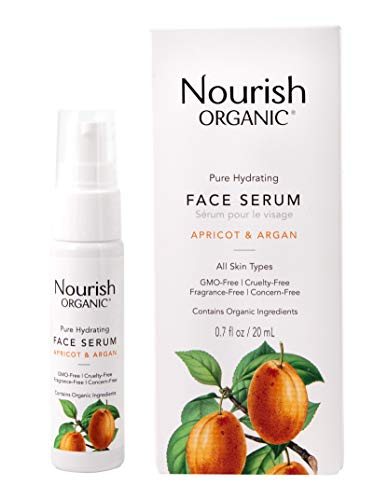 Nourish Organic | Pure Hydrating Face Serum - Apricot & Argan | GMO-Free, Cruelty Free, 100% Vegan (0.7oz)