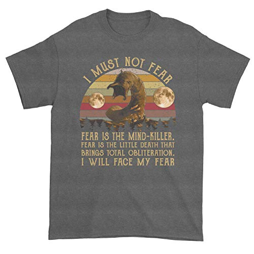 Men's Dune Litany Against Fear I Must Not Fear Fear is The Mind Killer I Will Face Fear T-Shirt (Dark Heather, Large)