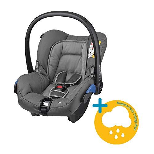 Maxi-Cosi Citi Babyschale, federleichter Gruppe 0+ Kindersitz (0-13 kg), nutzbar ab der Geburt bis 12 Monate, Concrete Grey + Regenschutz
