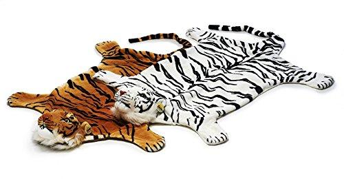Bavaria Home Style Collection Kinder Teppich Kinderteppich - Teppich - Plüsch Vorleger - Tiger - Größe ca. 110 cm - Kurzflorplüsch - Farbe weiß und braun (weiß)