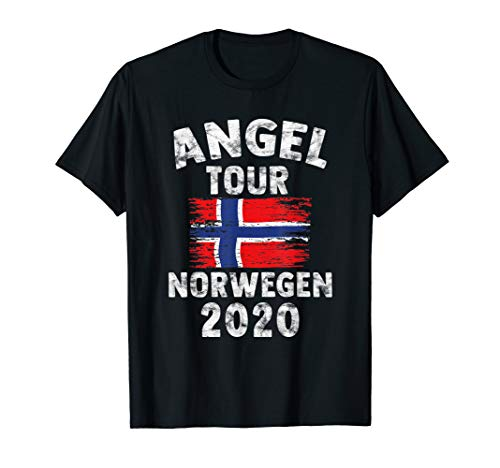 NORWEGEN 2020 - Angel Tour nach Norwegen mit Flagge T-Shirt