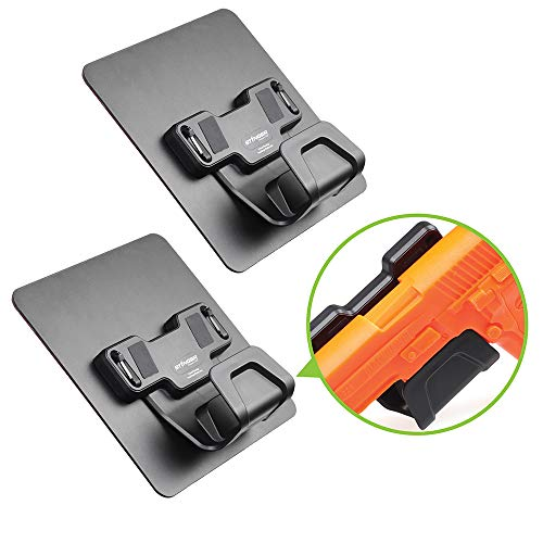 STINGER Magnetic Gun Holder w/Safety Trigger Guard Protection, w/Heavy Duty Adhesive Plate Non-Drill Solution, Wall Mount Gun Rack Holster Handgun Shotgun Firearm Conceal (Black 2pcs Combo)