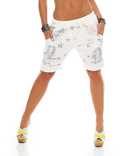 Zarmexx Damen Bermuda Shorts Baggy Hose Boyfriend Freizeithose Kurze Hose mit Blumendruck Baumwolle One Size (Weiss)