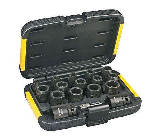 DEWALT - Coffret de 16 Douilles à Chocs - DT7506-QZ - Douilles et Coffrets avec Adaptateur et Prises Femelles - Taille d'entraînement 1/2' - Compatible avec Produits DEWALT