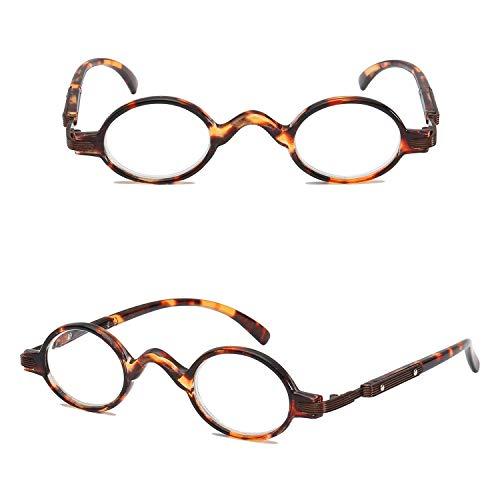 VEVESMUNDO Gafas de Lectura Mujer Hombre Vintage Redondo con Bisagra de Resorte Pequeñas Moda Graduadas Vista Optica Presbicia Lejos Anteojos Leer 1.0 1.5 2.0 2.5 3.0 3.5 4.0 (2.0, Carey)