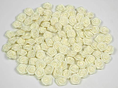Rosen 15 mm x 20 Stück Satinrosen Aufnäher Deko Blumen Röschen zum Basteln Haarschmuck kleine Rosenköpfe Farbe: cremeweiß/elfenbein 028