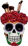 World of Wonders - Fiesta De Muertos Series - Death's Embrace - Halloween Decorations Sugar Skull Multi-purpose Makeup Brush Caddy Makeup Storage Day of the Dead Mexican Folk Art Décor, 5.25-inch