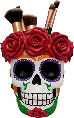 World of Wonders - Fiesta De Muertos Series - Death's Embrace - Colorful Sugar Skull Multi-purpose Pen Pencil Holder Makeup Brush Caddy Supply Day of the Dead Mexican Folk Art Décor Accent, 5.25-inch