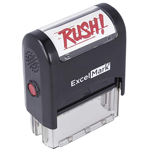 Rush Self Inking Rubber Stamp  Red Ink