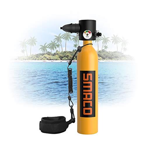Botella de Buceo para Buceo Recreativo Mini Cilindro de Buceo de 0,7 L Soporta 13-18 minutos de Respiración (no Más de 30 m)Equipo de Respiración Subacuática Utilizado para Turismo de Buceo, Naranja