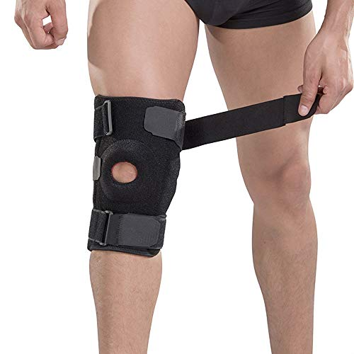 L.J.JZDY Kniebandage Knieorthese Kompressionsmanschette Mit Gurt for Beste Unterstützung Schmerzlinderung Stoßdämpfung Einstellbare Sport Unisex Knieschutz