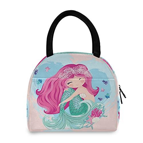 ECHOBU - Bolsa de almuerzo con diseño de sirena, diseño de peces, con aislamiento térmico, organizador para hombres, mujeres, niños, trabajo, picnic, senderismo