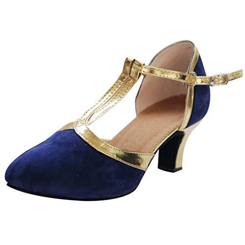 Damen Latin Salsa Tanzschuhe Ankle Strap Satin Abendschuhe Standard Ballschuhe Geschlossen Dance Schuhe