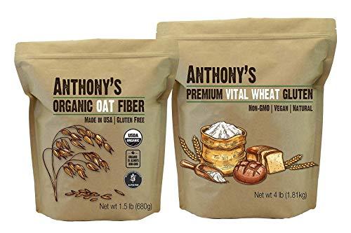 Anthony's Vital Wheat Gluten 4lb & Organic Oat Fiber 1.5lb Bundle