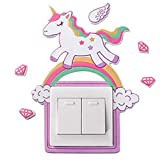 Etiqueta engomada del interruptor de luz de unicornio/pegatinas decorativas de pared para dormitorios infantiles, pegatinas fluorescentes autoadhesivas niño niña(Rosa)