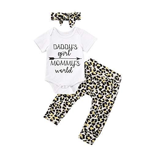 Jeg Neonata Bambina Carino Pantaloni Set Manica Corta Letters Pagliaccetto Top Leopard Pantaloni Fascia Vestiti Estivi Set Ragazze di papà 6 mesi