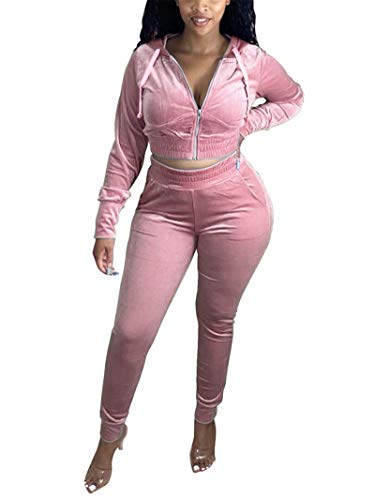 Womens Two Piece Outfits Sexy Long Sleeve Zipper Hoodie Sweatshirt Bodycon Pants Velour Sweatsuits Sets Jogging Suits Pink